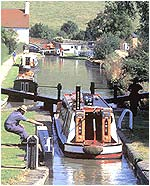 cruising the canalboat into a lock